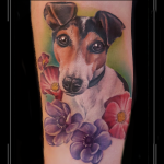 lady  portret hond jack russel dier onderarm.png