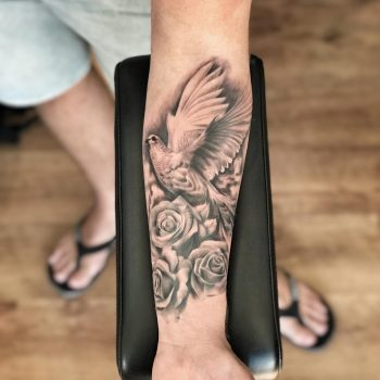 Black & grey dove and roses