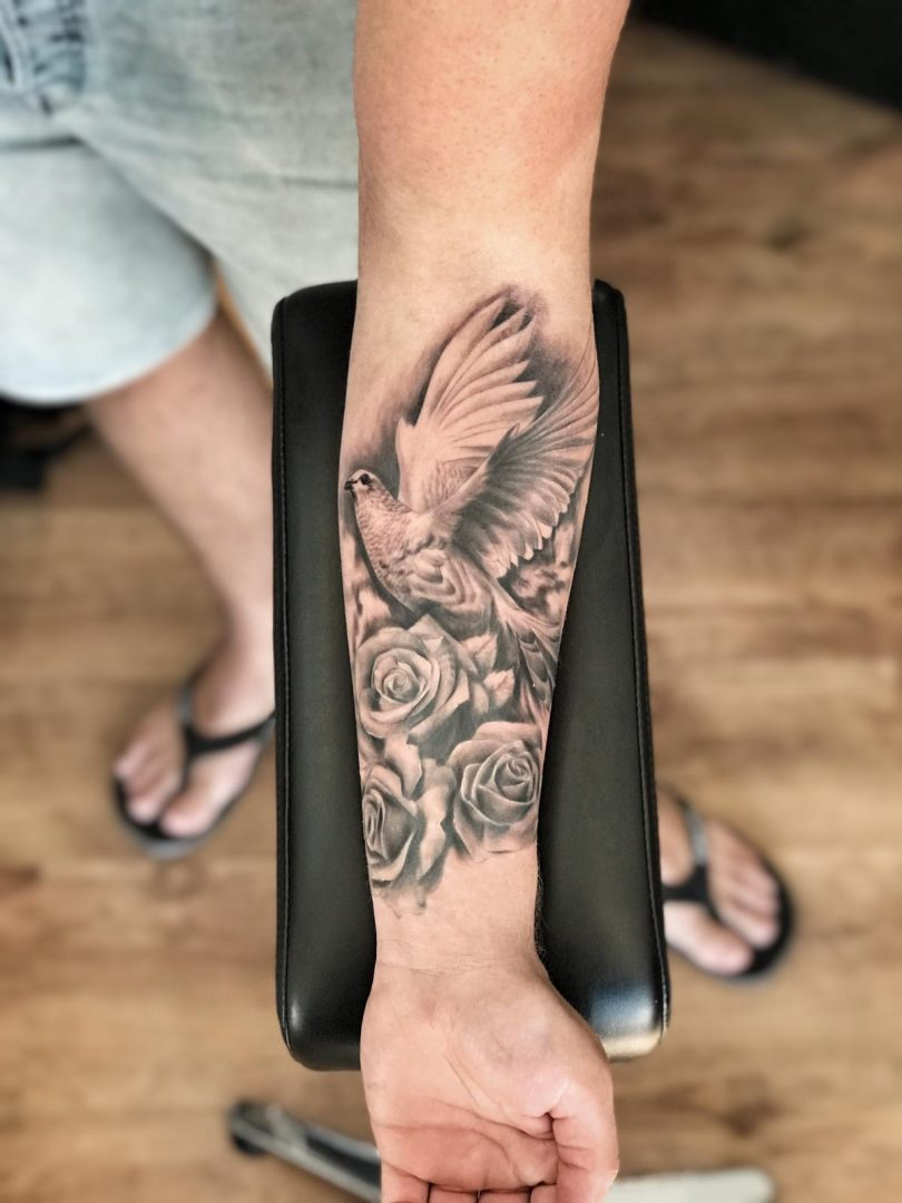 Black Grey Dove And Roses Tattoo Contest Black Grey